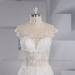XY-17014 Real sample flower beaded ladies wedding gown lace wedding dress