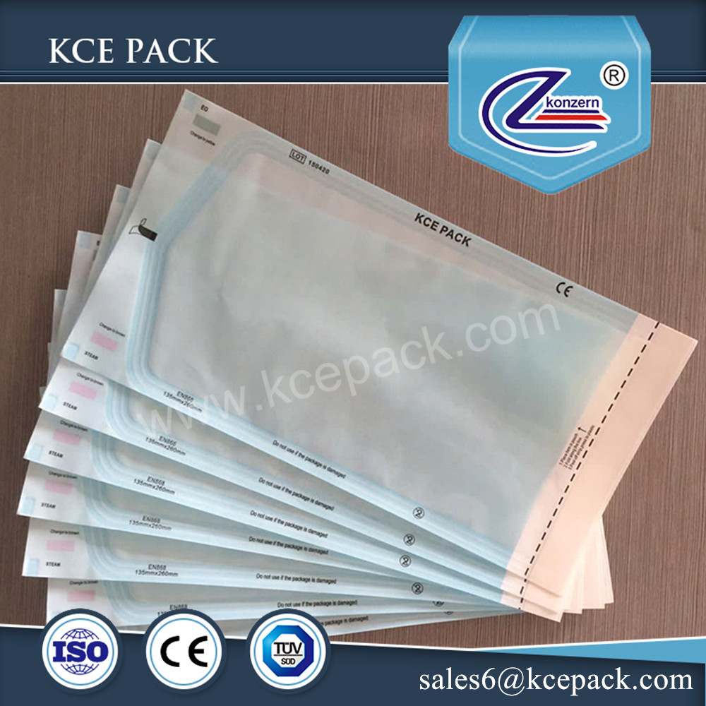 Dental self sealing sterilization pouches packaging plastic paper bags