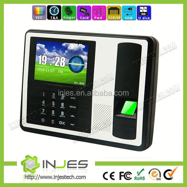 INJES TCP IP based inBuilt battery biometrics fingerprint attendance time tracking machine with employees punch card