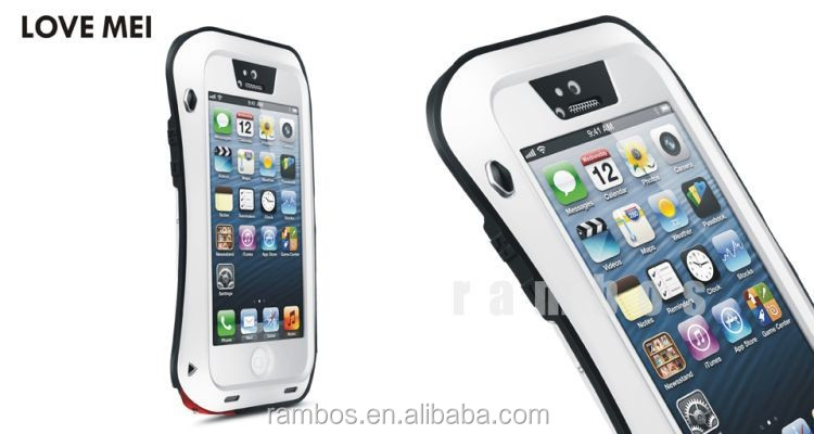 Powerful Triple-Proof Small Waist Love Mei Waterproof Shockproof Cover Aluminum Case for iPhone 5 5S