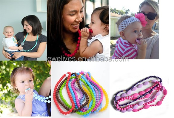 China novelty silicone teething necklace for babies