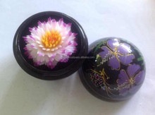 Hand-carved lotus flower from Thailand + wooden bowl with hand painting