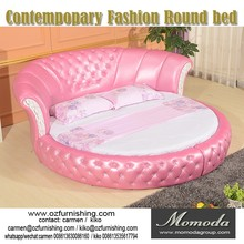 C031new classic new design red fabric round bed hotel bedroom furniture