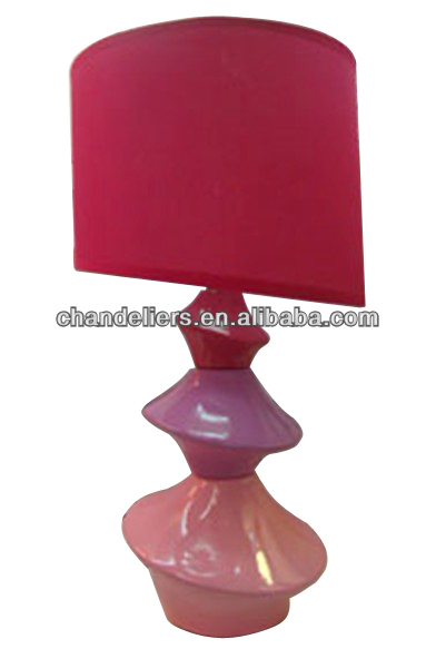 Rose red ceramic lamp shade, irregular spiral-shaped base