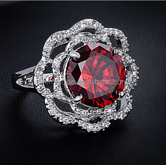 2015 Merryshine New Arrials Jewelry 925 Silver Round-cut Moissanite Ring Red Sapphire Ring Diamond Art Deco Engagement Ring S01