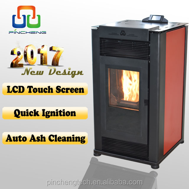 Auto ash clean modern pellet stove with color touch screen controller