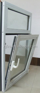 Aluminum Single Inward Tilt and Turn Window with transom,fixed glass windows