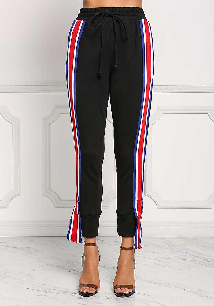 China Product Small Quantity Black Side Stripe High Rise Jogger Pants