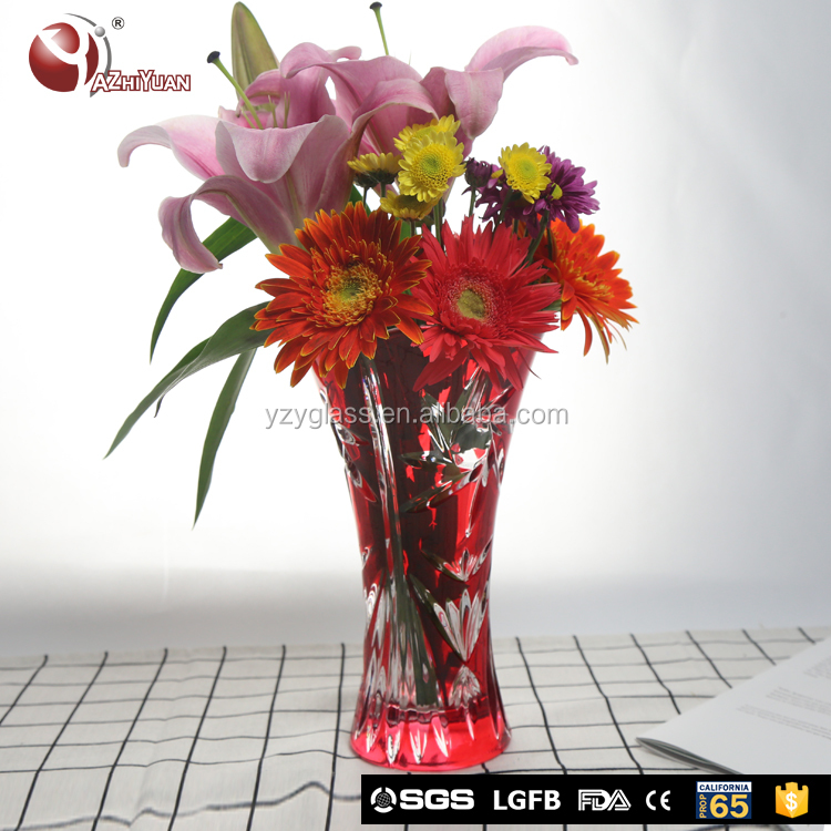 OEM 25cm tall lead free flower cylinder glass vase
