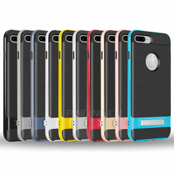 2017 phone accessories brushed tpu pc side kickstand hybrid dual layer case for iphone 7 7 plus