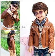 korean 2015 WINTER LONG SLEEVE PURE COLOR CHILDREN LEATHER JACKET