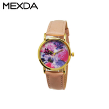2017 New flower printing surface slim watches vintage japan quartz movement watches for girl women cheap leather watches