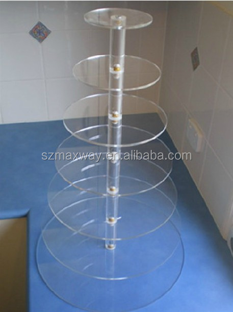Clear transparent crystal 5 tiers square acrylic cupcake display stand