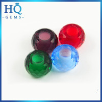 HQ cheap large hole color crystal glass gemstone bead