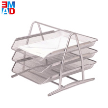 Office metal wire mesh silver 3 layers desk doucment tray A4 paper organizer file tray