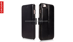 book style leather case for mobile phone Genuine Leather Wallet Magnetic Closure