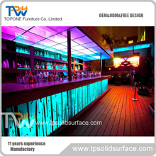 solid surface furniture luxury wine bar counter top with LED