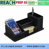 Faux Leather Desk Organizer with Pen Holder Memo Holder