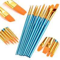 10Pcs Blue Handle Nylon Artist Water Color Brush Set for Oil Painting