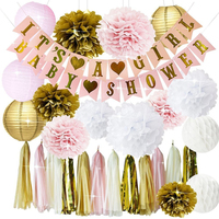 Pink and Gold Baby Shower Party Decorations for Girl BABY SHOWER IT'S A GIRL Garland Bunting Banner Tissue