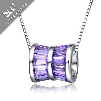 Elegant DIY S925 Sterling Silver Necklace Pendant Charm With Purple Zircon