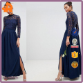custom make lastest design wholesale high neck long sleeves crochet lace long maxi dress