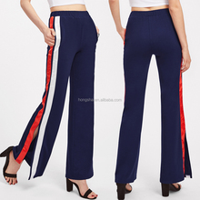 Split Double Striped Side Women Pants Sexy Teens Pants Bell Bottom Trousers Cutting HSp5292