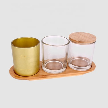 Wholesale round candle jars glass with sealed wood lids