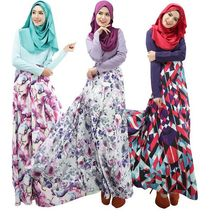 Fashion abaya saudi arabia muslim kaftan arab flower printing islamic jilbab dress