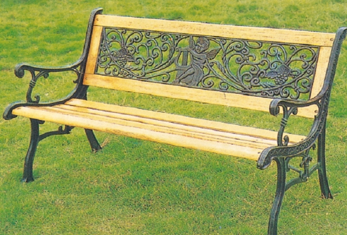 2016 Best Selling Wrought Iron Metal Garden Benches Teak