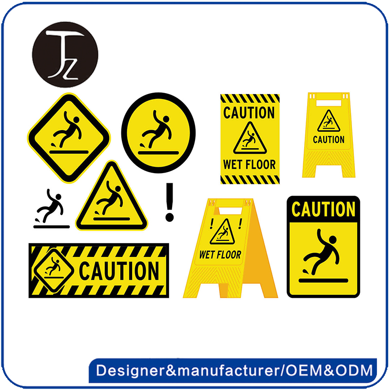 Casting Craftsman Customized yellow reflective caution wet floor sign