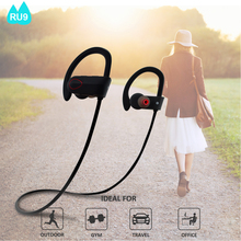 2017 Super Bass Sound Wireless Bluetooth Stereo Earbuds V4.1 Wireless Sports Headphones IPX7 with Long Working Time RU9