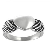Yiwu Aceon Stainless Steel Heart Angel Wing best friends forever rings