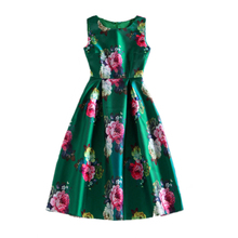 Women's Casual Green Dresses Vintage Retro 50s 60s Rockabilly Swing Feminino Vestidos Floral Print Vest Party Office Lady Dress