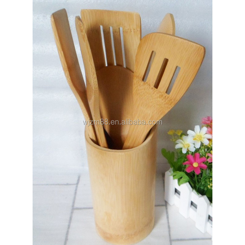 wholesale bamboo kitchen utensils set & accessories gadgets with holder