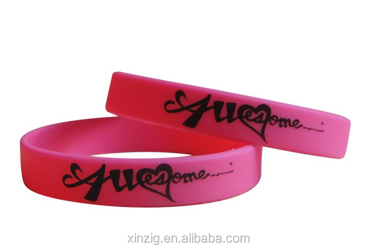 High quality Silicone Debossed Color Fill Bracelet Customized