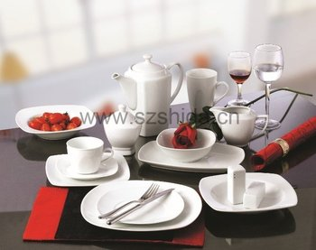 WHITE PORCELAIN DINNER SET (SQUARE)