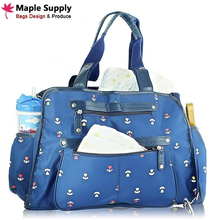 Stroller Clips and Shoulder Strap blue Mommy Baby Diaper Bag with Changing Pad