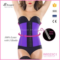 Drop ship Cheap 9 Steel Boned Trainer Latex Corset Waist Trimmer Belt W0323C1