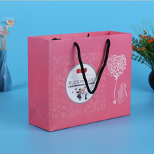 Luxury design pink coated paper customize offset print shopping paper bag murah with rope handle