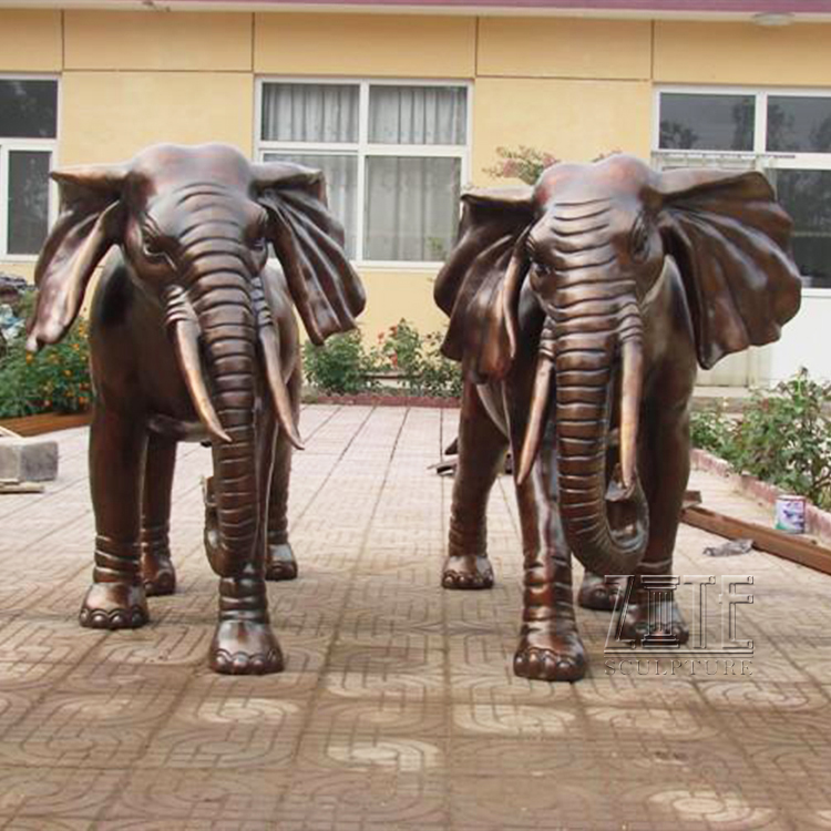 Outdoor life size polish antique golden bronze metal elephant pair sculpture statue