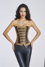 walson Antique brown steel boned Real Leather corset Steampunk