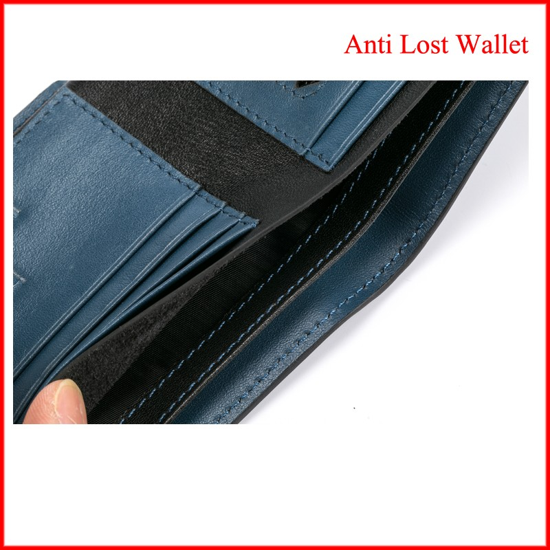canvas trifold wallet super safe anti thief leather cowhide wallet