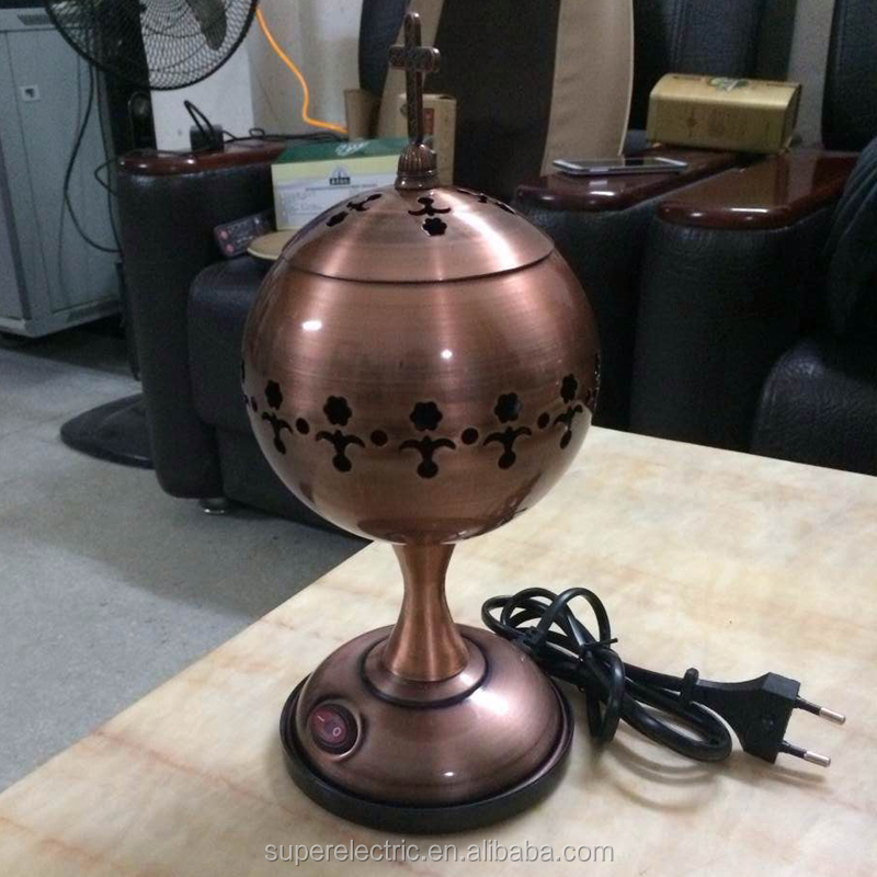 High Quality Iron Electric Incense Burner, Antique Electric Censer With Cross