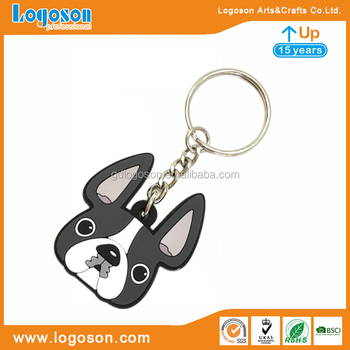 Factory Custom Rubber/Metal Cute Keychain Grey/Black Pugs Head Dog Keyring