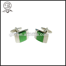 Metal Cufflink with green stone