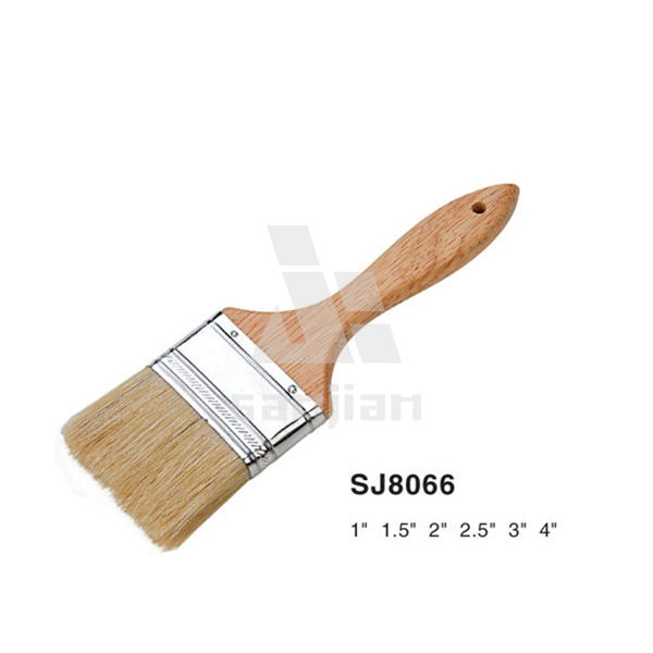SJ8066 White bristle with soft wooden handle Paint Brush