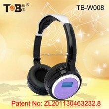 Wireless over ear FM AM radio and mp3 player folding headphones / headsets with TF / MicroSD card and mini LED screen TB-W008