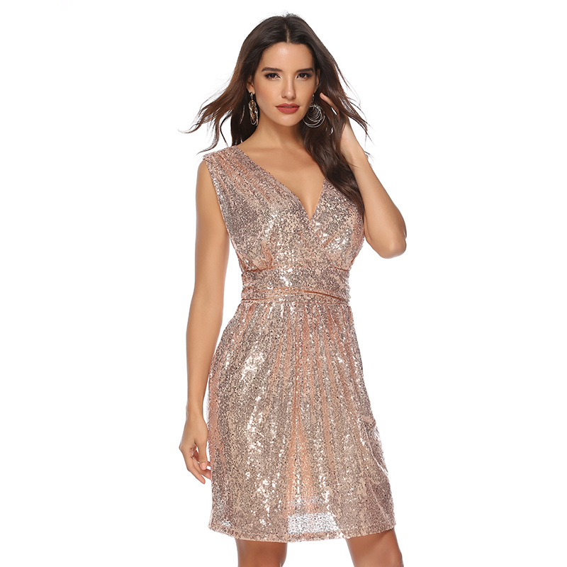Wholesale Women Sequin V-neck Sexy Party Elegant Dress