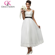 Grace Karin Newest Sweetheart Sleeveless Backless Hollowed Back Soft Tulle White Lace Wedding Dress 2016 CL007566-1